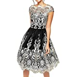 Womens Dress,FUNIC Lace Embroidery Prom Formal Dress Evening Party Bridesmaid Ball Gowns Dresses (M, Black)