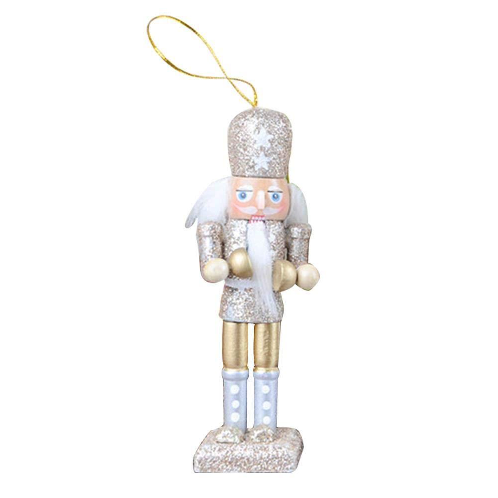 keruite 5pcs 12cm Ornements De Marionnettes De Casse-Noisette Cadeau De No/ël Artisanal en Bois /À La Main pour la D/écoration De La Chambre