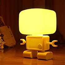 Asiacc Intelligent Cute Robot Night Table LED Sound Voice Control Lamp Bedside Desk Light with USB Rechargeable Built-in Battery Used in Bedroom Or for Reading (Yellow)