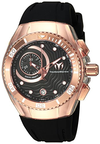 Technomarine Women's Cruise Stainless Steel Quartz Watch with Silicone Strap, Black, 20 (Model: TM-115382