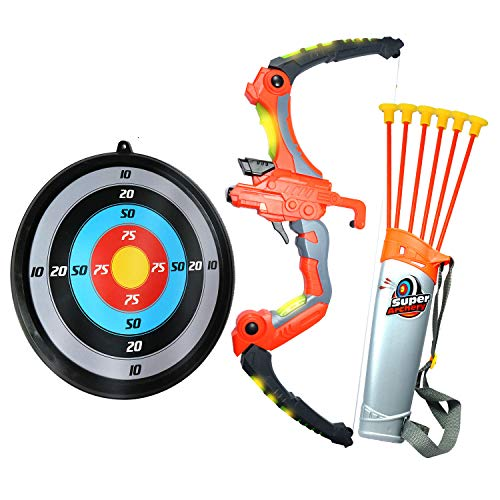 Bow and Arrow Set for Kids - Light Up Archery Toy w/ 6 Suction Cup Arrows Quiver and Target - Safe Crossbow / Arrows - Soft Shooting Action - ASTM Approved - Boys and Girls Age 6-12 - Bonus eBook