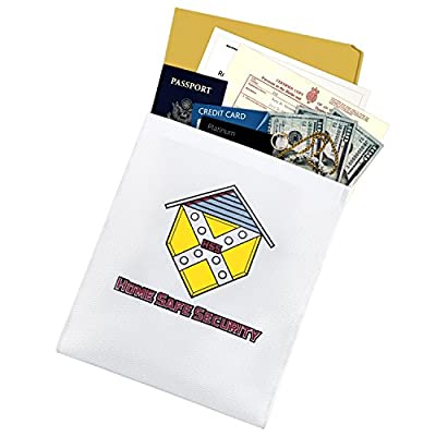 "Home Safe Security Fireproof Money Bag (15""x11""). Large Fire Resistant Envelope Pouch for Valuables"