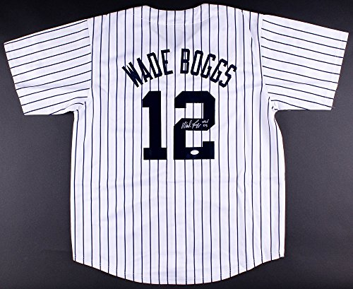 WADE BOGGS AUTOGRAPHED NY YANKEES JERSEY HALL OF FAME 2005 BOSTON RED SOX RAYS (Boggs Wade Autographed Jersey)