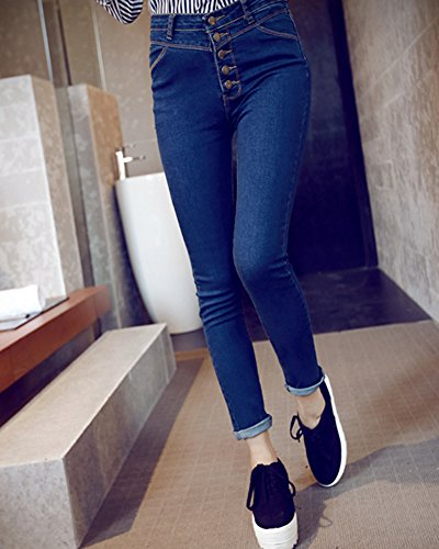 Alta Elastici A Vintage Jeans Vita Blu Donne Pantaloni Stretti Skinny avwfqtxIt