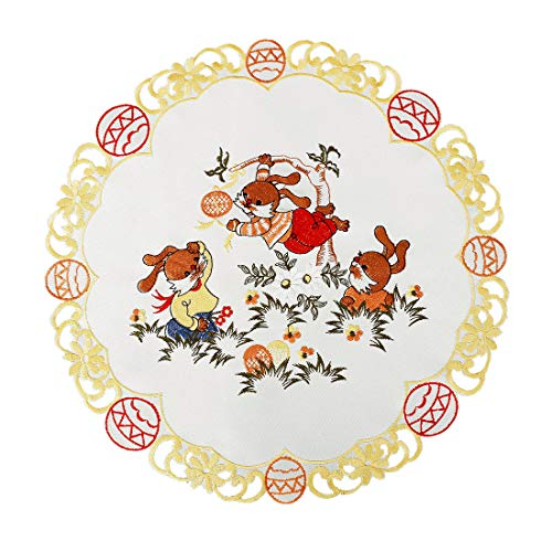 Simhomsen Set of 4 Round 15-inch Embroidered Easter Bunny Table Doilies, Centerpieces (Easter Centerpieces Table)