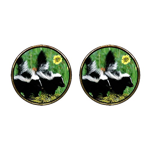 GiftJewelryShop Gold Plated Wildlife Skunk Photo Stud Earrings 12mm Diameter ()