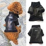 Binmer(TM) Lovely Pet Dog Clothes Puppy Winter Costume Warm Fashion Leather Zipper Jacket Coat (S, Black)