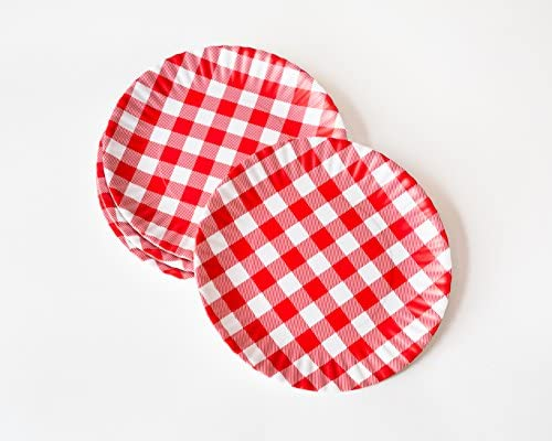 """9 Set /""""What Is It/"""" Reusable Red /& White Gingham Checkered Picnic Dinner Plate"""