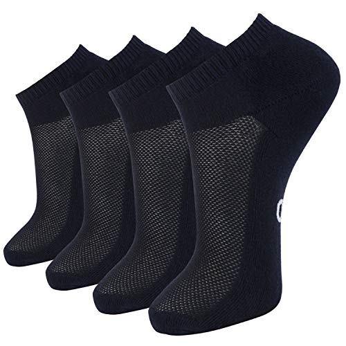 (+MD 4 Pack Mens Bamboo Low Cut Casual Socks Moisture Wicking & Odor Resistant Cushioned Athletic Socks 4Navy10-13)