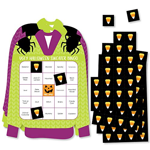 Corn Chip Costume (Big Dot of Happiness Halloween Ugly Sweater - Bar Bingo Cards and Markers - Halloween Party Shaped Bingo Game - Set of)