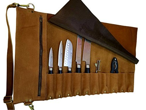 Lightweight premium Leather Chef Knife Bag/Chef Knife Roll 10 Pockets Tan Leather