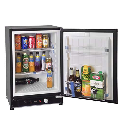 SMETA Gas Propane Refrigerator 12V 110V RV Truck Off Grid Fridge Cooler 2.1 cu ft,Black