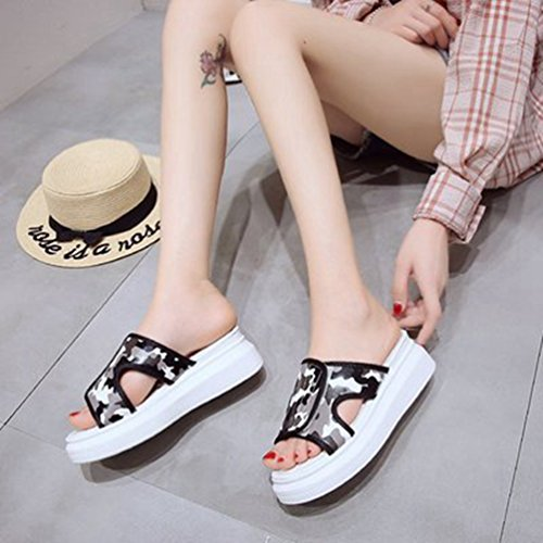 Slide Summer Sandales extérieur Camouflage Talon Wedge Beach Toe Plate Femmes Forme Open Blanc Mode Haut XwSHqT