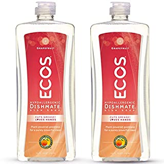 Earth Friendly Products ECOS Dishmate Dish Liquid, Grapefruit, 25 Fl Oz (Pack of 2)