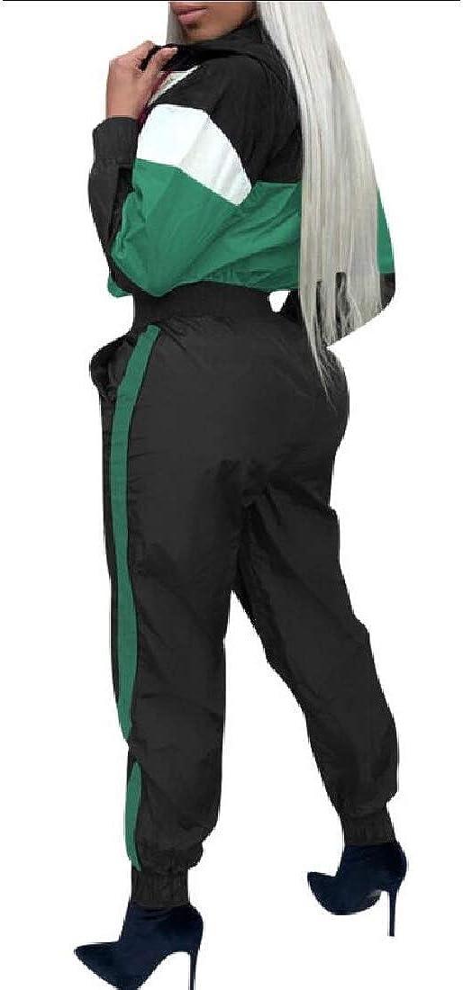 omniscient Women One Piece Long Sleeve Color Block Zipper Jumpsuits Romper Playsuit