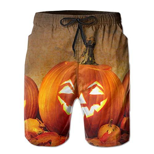 HFSST Jack O Lantern Carving Pumpkin Halloween Scary Ghost Men Kid Male Summer Swimming Pockets Trunks Beachwear Asual Shorts Pants Mesh ()