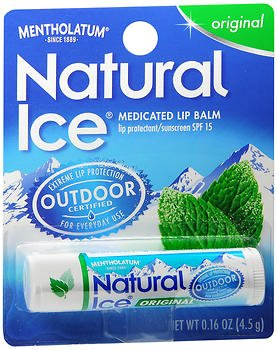 Mentholatum Natural Ice Lip Protectant/Sunscreen Original Flavor SPF 15 - 12 ct, Pack of 4