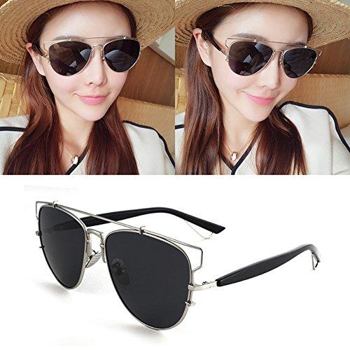 Solar de Decoración Anti Color Protección Protección Espejo UVA UV Marco gafas Negro Clásico WYYY Gris Luz Hombres 100 sol Redondo Polarizada Sra Retro qOpS6
