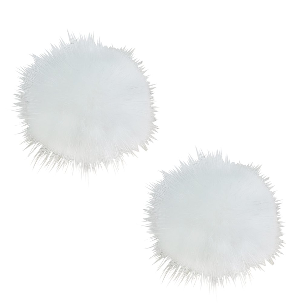 ZAKIA Women' Fluffy Mink Fur Pom Removable Shoe Clips Clutch Wedding Decoration Pack of 2 (White)