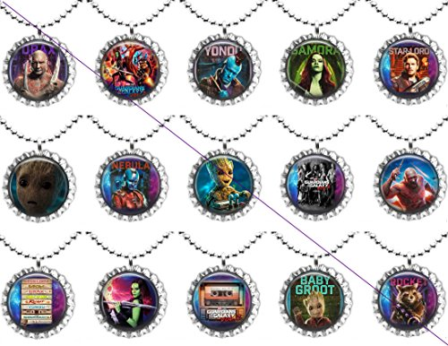 15 GUARDIANS OF THE GALAXY VOL.2 Flat Bottle Cap Necklaces for Birthday, Party Favors, Bag Fillers (Cap Necklace Bottle Princess)