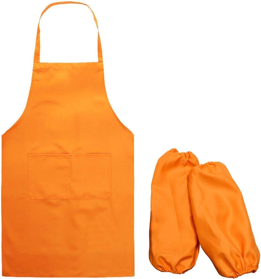TankerStreet Sch/ürze mit /Ärmeln Kochsch/ürze Grillsch/ürze f/ür Erwachsene Unisex Reine Farbe K/üche Restaurant Kochen mit Doppel Taschen M Orange