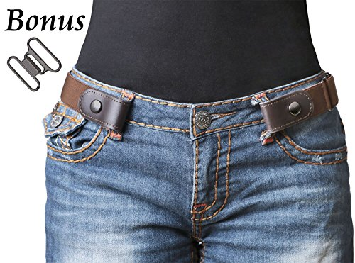 No Buckle Women/Men Stretch Belt Elastic Waist Belt Up to 48'' for Jeans Pants Dresses by WERFORU