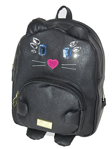 Luv Betsey Johnson Black Leather Jeweled Cat Face Backpack Shoulder Bag (Betsey Johnson Lily)