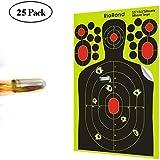 Shooting Targets 50, 25 Packs Splatter Targets 9.5x14.5 inch Self Adhesive Paper Silhouette Reactive Target Stickers for Gun Rifle Pistol Bb Gun AirSoft Pellet Gun Air Rifle