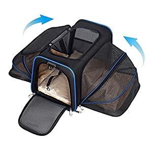 YOUTHINK Expandable Pet Carrier for Dogs and Cats, Soft Sided&Most Airline Approved, Perfect Cat Carrier with Removable Fleece Mat 49