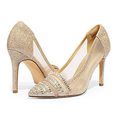 DREAM PAIRS Women's High Heel Rhinestone Pointed Toe Pumps Shoes