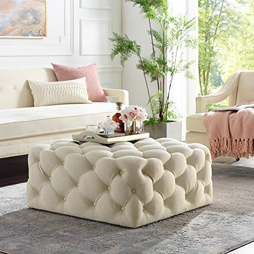 Inspired Home Cream Linen Cocktail Ottoman - Design: Madeline | Allover Tufted | Square | Castered Legs