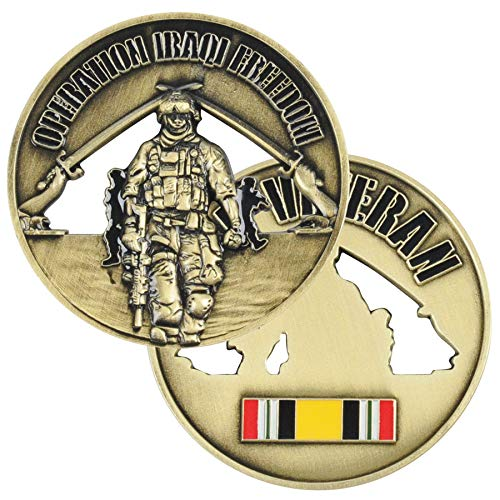 (Medals of America Operation Iraqi Freedom OIF Veteran Challenge Coin Gold)