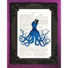 Blue Octopus Artwork, Gentleman Squid with Mustache and Top Hat on Book Page, Nautical Bathroom Wall Art Print, Living Room Home Decor