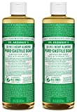 Dr. Bronner's Organic Pure Castile Liquid Soap, Almond Scent, 16 oz, 2 Pack