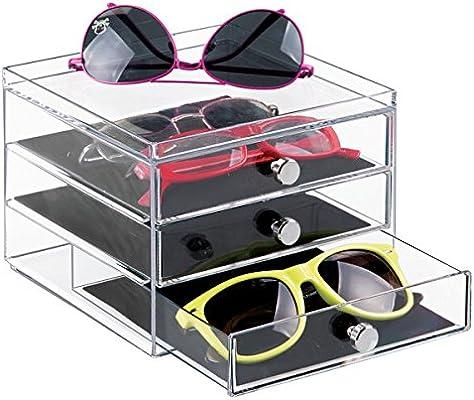 mDesign Caja para Gafas y Gafas de Sol – Preciosa cajonera para Proteger y Guardar Gafas - Práctico Organizador de Gafas con 3 cajones - Plástico ...