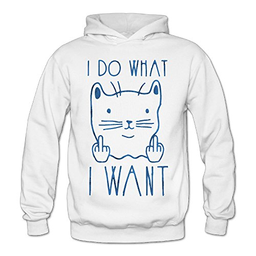 Funny I Do What I Want Classic Women's Hooded Hoodies White XXL
