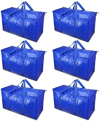TICONN 6 Pack Extra Large Moving Bags with Zippers Carrying Handles, Heavy-Duty Storage Tote for Space Saving Moving Blue