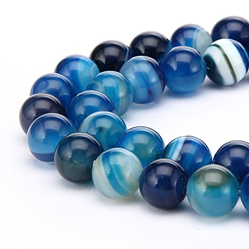 Quartz Rosary Crucifix - AAA Natural Blue Stripe Agate 8mm Gemstone Round Loose Stone Beads 15 Inch for Jewelry Craft Making GC12-8