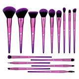 DUcare 15 Pcs Makeup Brushes Set Premium Synthetic Hair Purple Foundation Blending Blush Face Eyeliner Shadow Brow Concealer Lip Brush Tool Beauty Collection Cosmetic Brushes Kit