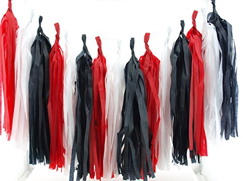 Pirate Party Paper Streamers, Black & Red Tissue Tassel Garland (Set of 15) - Pirate Party Supplies, Red & Black Photography Backdrops, Pirates Birthday Party Decorations -