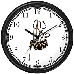 Scottish Bagpipes or Bag Pipes - Musical Instrument - Music Theme Wall Clock by WatchBuddy Timepieces (Black Frame)