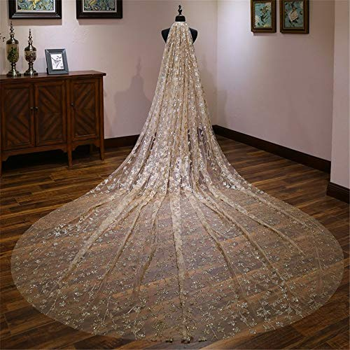 Bridal Veils Bridal Wedding Veil Gold Sequins Handmade Elegant 4m Bride Veils Lace Edge Appliques Women Beautiful Wedding Wedding Veil (Color : Gold, Size : 400cm300cm)