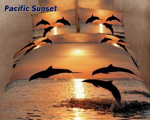 Pacific Sunset - Luxury Marine Bedding - 6 Pc. King Duvet Cover Bedding Set (1 Duvet Cover, 1 Fitted Bed Sheet, 2 Shams, 2 Pillow Cases) - Includes a Gift Box and Gift Bag - SAVE BIG ON (Dolce King Comforter)