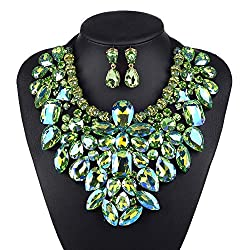 7 Colors Statement Necklace With Earrings