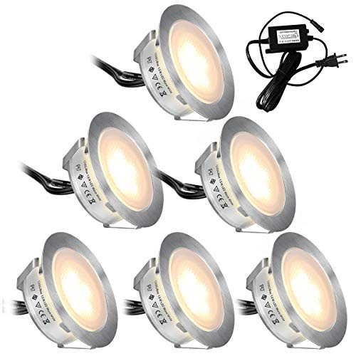 Recessed LED Deck Lights Kits 6 Pack,SMY(Upgrade Version) In Ground Outdoor LED Deck Lighting Waterproof IP67,Low Voltage LED Lights for Garden,Yard Steps,Stair,Patio,Pool Deck,Kitchen Decoration ()