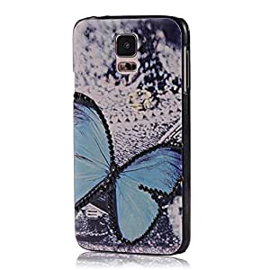 MOLLYCOOCLE Fashion Style PC Cover Case Rhinestone Phone Back Skin Shell with Blue Butterfly Pattern for Samsung Galaxy S5 I9600