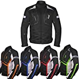 Motorcycle Jacket For Men Textile Motorbike Dualsport Enduro Motocross Racing Biker Riding CE Armored Waterproof All-Weather (All-Black, XXXXX-Large)