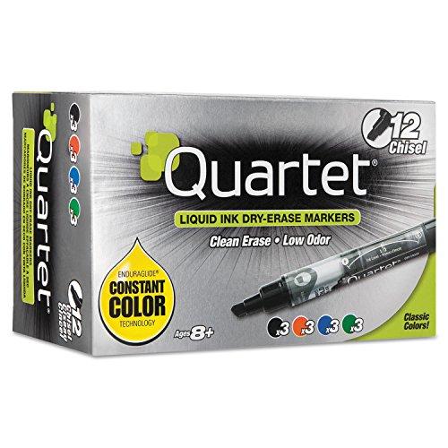 - Quartet EnduraGlide Dry Erase Marker, Chisel Tip, Assorted Colors, 12/Set