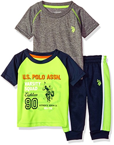 U.S. Polo Assn. Baby Boys T-Shirt Sweatpant Set, Piping on Sides Lime, 12M