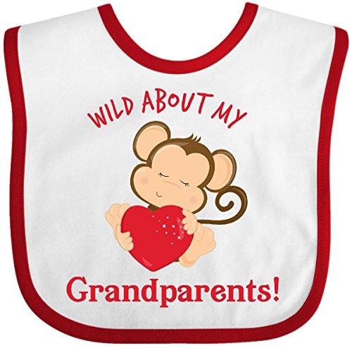 Inktastic - Wild About my Grandparents Baby Bib White/Red